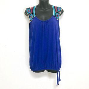 Sleeveless Crochet Bubble Blouse Royal Blue Purple